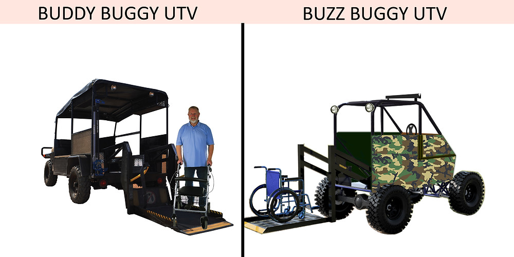 Buddy Buggy UTV with man standing on extended wheelchair lift platform and the Buzz Buggy UTV with wheelchair on extended wheelchair lift.