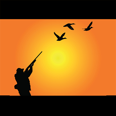 Orange and Black vector illustration that shows a black outline of a man in hunting gear holding a rifle towards to the sky where there are 3 birds flying above