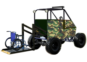 Woord forest camo covered Buzz Buggy UTV with wheelchair lift extended and blue wheelchair on lift