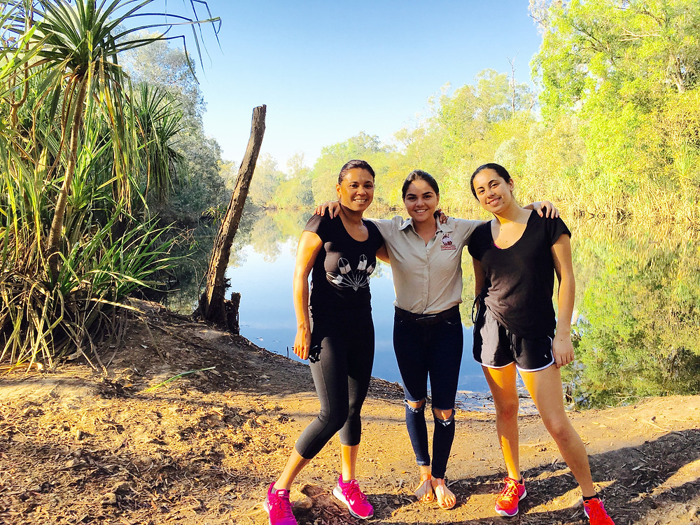 Terri Janke, Chrisney Bright from NT Indigenous Tours and Tamina Pitt at Litchfield National Park
