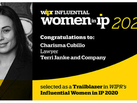 Charisma Cubillo selected as a Trailblazer in WIPR'S Influential Women in IP 2020