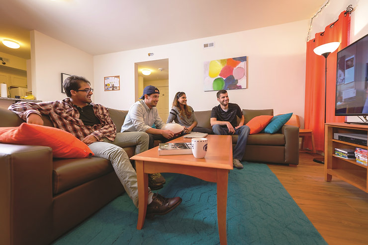 Students enjoying fully furnished living room space.