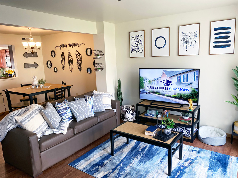 "Fully Furnished Living Rooms with 55"" HDTVs Included"