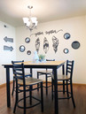 Our student housing is furnished with a modern dining room table set.
