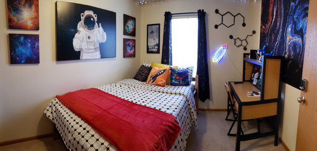 Bedrooms Include a Study Desk, Full-Sized Bed, and Closet
