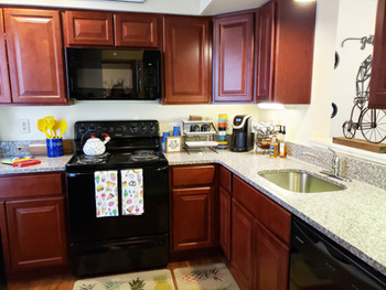 Custom cabinetry and stainless steel appliances are included in all of our modern kitchens!