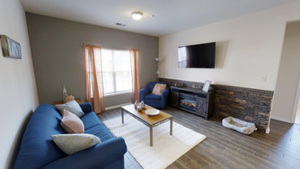 Premier apartments at Madison and Brookside are a sight to behold! Wall mounted TV, rock backsplash, electric fire place and much more.