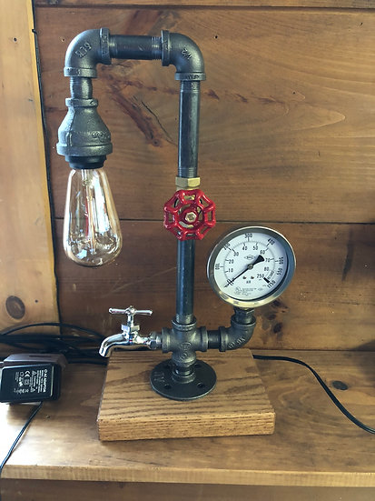 Single Edison, Vintage Gauge, Wood Base