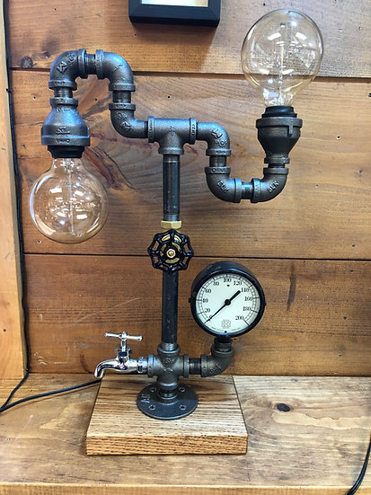 Double Edison, Single Vintage Gauge, Wood Base