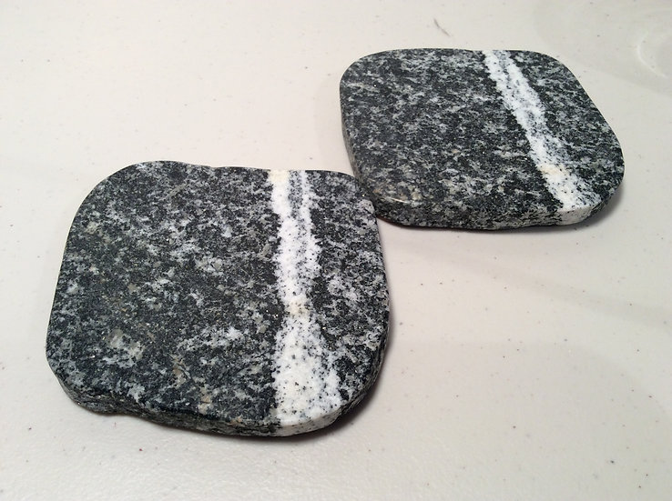 Granite Coasters (2)- Black w/Lucky Stripe