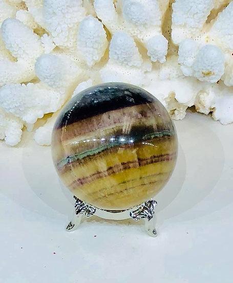 Golden Rainbow Fluorite Sphere