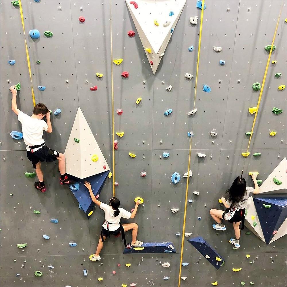 Kids climbing top rope.