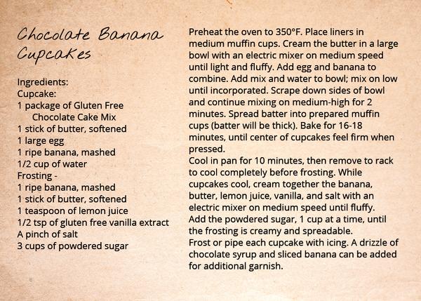 Gluten Free Chocolate Banana Cupcakes