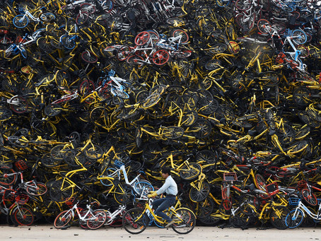 The Bike-Share Oversupply in China: Huge Piles of Abandoned and Broken Bicycles