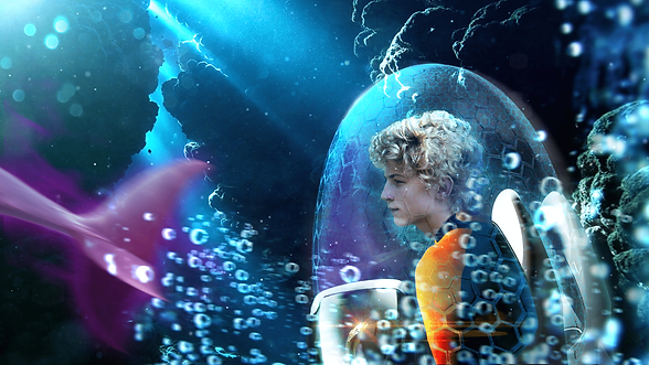 In an enclosed undersea vehicle, Dax watches as a Delvan swims off in a torrent of bubbles!