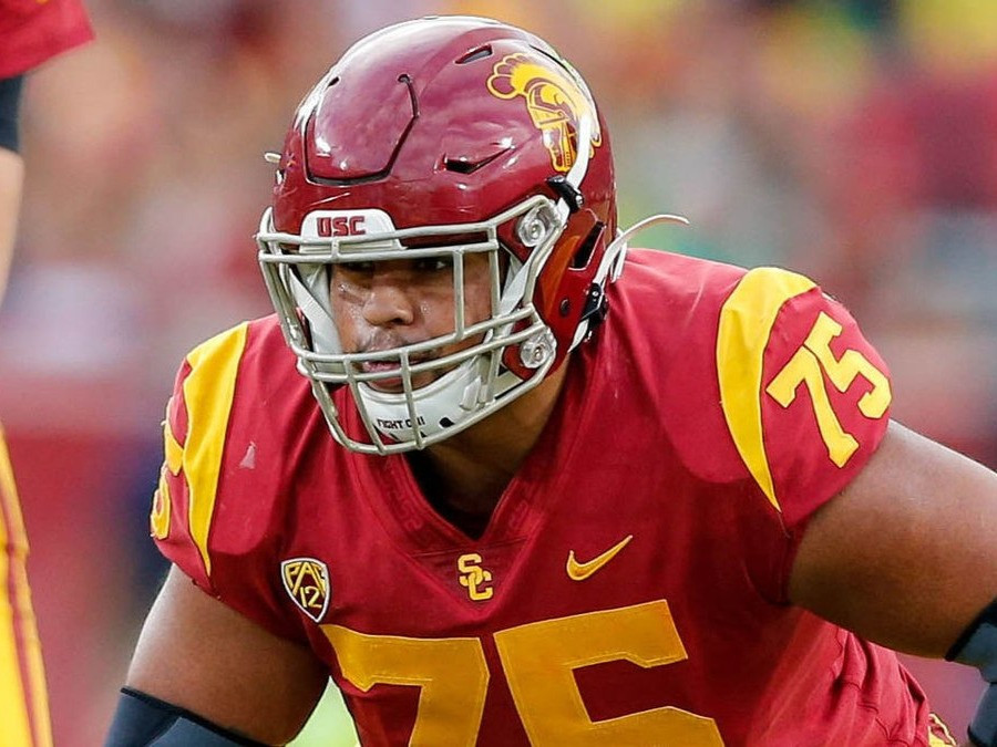 Alijah Ver-Tucker the offensive lineman for the USC Trojans lines up during a College Football game in 2020. In this article we look at his 2021 NFL Draft player profile and determine whether or not he is worth a first round pick.