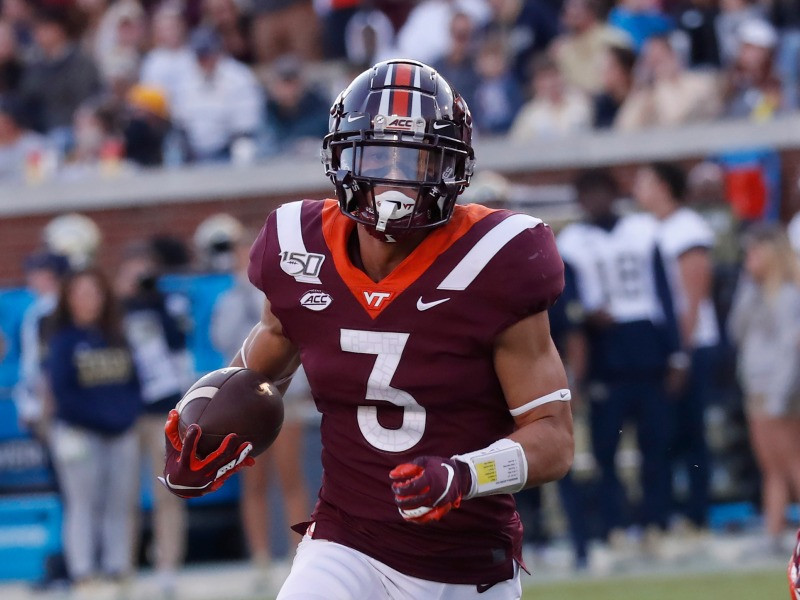 Drafted by the Tennessee Titans in round one of the 2021 NFL Draft, Caleb Farley of Virginia Tech could be the best cornerback in the 2021 NFL Draft class. Farley is pictured here after making a play during the 2020 college football season.