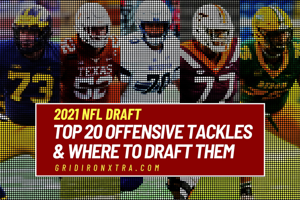 This is a picture of Jalen Mayfield, Samuel Cosmi, Rashawn Slater, Christian Darrisaw and Dillon Radunz, some of the best offensive tackle prospects in the 2021 NFL. In this article we rank the top 20 offensive tackle prospects and look at their strengths and weaknesses as well as assessing where they grade in the 2021 NFL Draft.