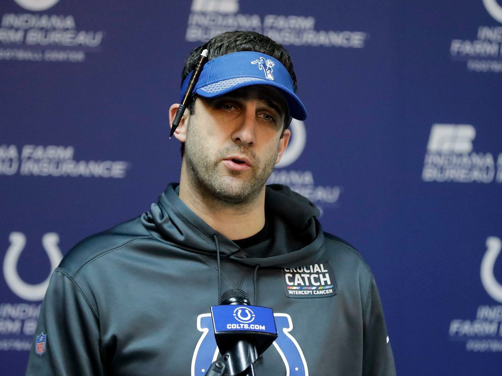 New Philadelphia Eagles NFL head coach Nick Sirianni gives a press conference during his time as the Indianapolis Colts offensive coordinator