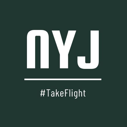 New York Jets green and white logo with TakeFlight hashtag