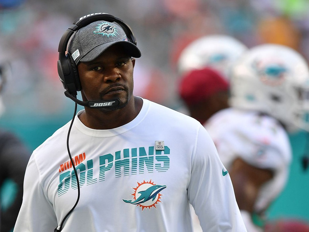 NFL head coach Brian Flores of the Miami Dolphins looks on during an NFL game in the 2020 NFL season.
