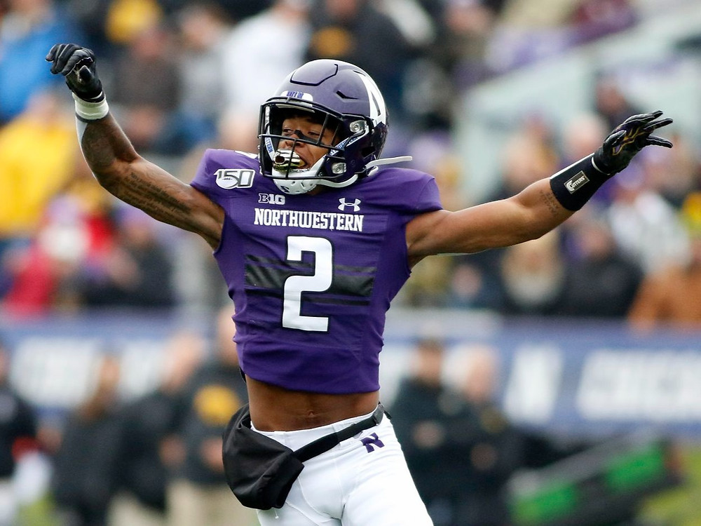 Greg Newsome, cornerback for the Cleveland Browns, during a college football game for Northwestern in 2020.
