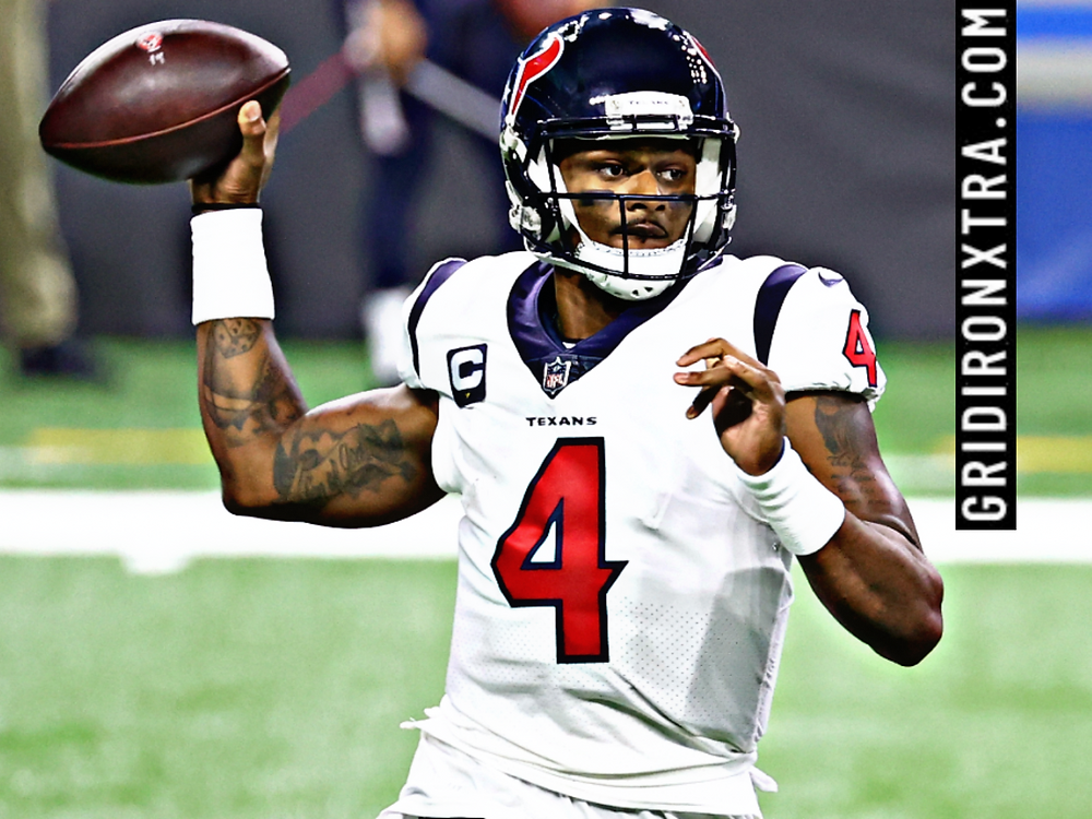 Deshaun Watson of the Houston Texans NFL franchise throws a football during a 2020 NFL regular season game. Watson has asked for a trade from the organization and in this article we look at the best five trade destinations for the disgruntled superstar