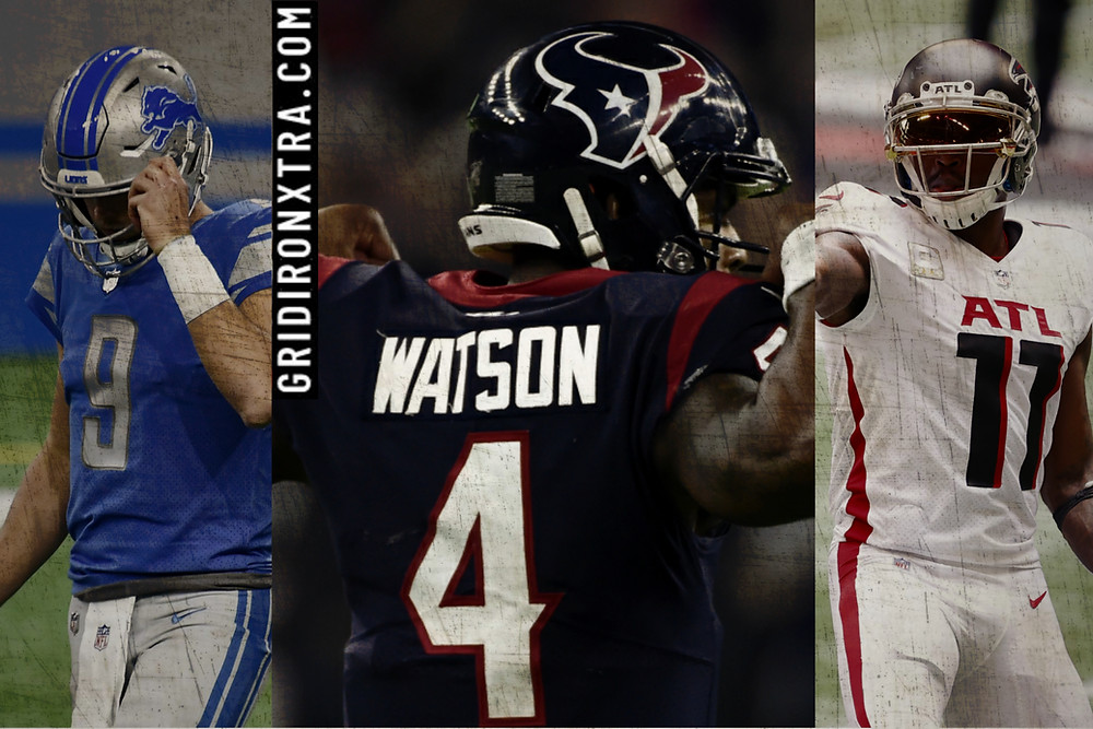 Matthew Stafford of the Detroit Lions, Deshaun Watson of tyhe Houston Texans and Julio Jones of the Atlanta Falcons are all NFL trade candidates as rumors swirl that all three could be traded during the 2021 NFL offseason
