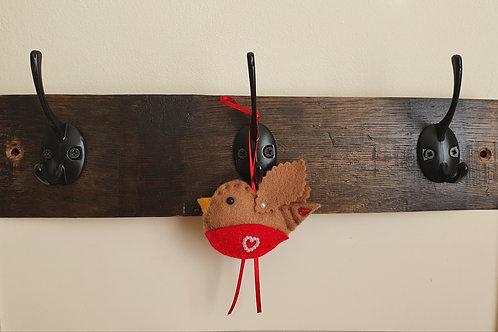 Upcycled Oak Whiskey Barrel Stave Coat Rack/Wall Hanger