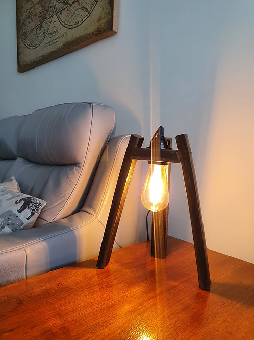 Upcycled Oak Whiskey Barrel Stave Table Lamp (Antique style bulb included)