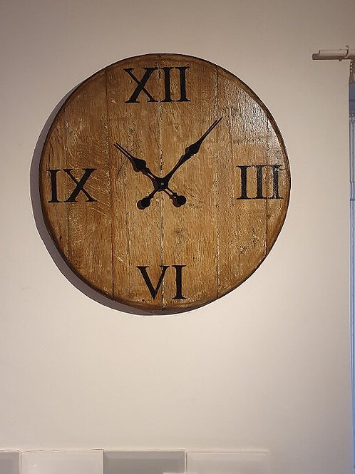 Upcycled Oak Whiskey Barrel Clocks without Metal Bands