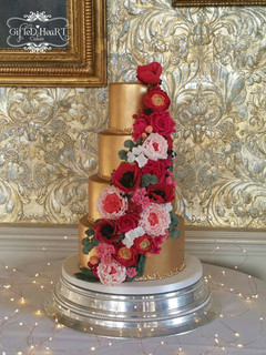 Gold 4 tier wedding cake
