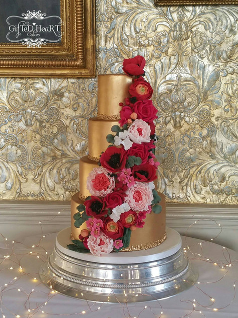Gold 4 tier wedding cake