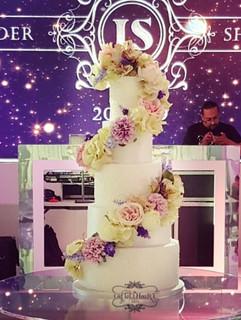 Spiral cascade wedding cake