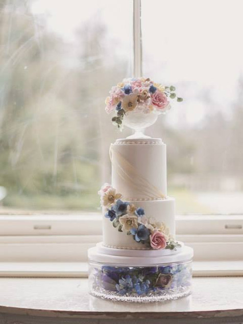 Two tier sugar flower wedding cake