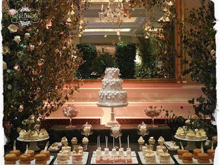Four seasons wedding cakes and desert table