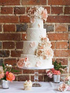 Peach 4 tier wedding cake