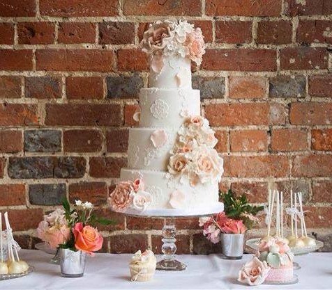 Peach 4 tier wedding cake