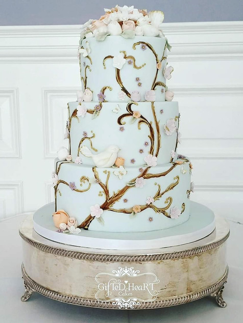 Duck egg blue wedding cake