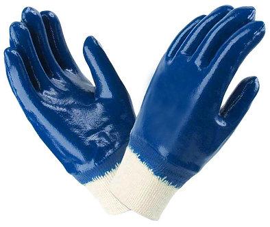Перчатки маслостойкие синие нитрильный облив