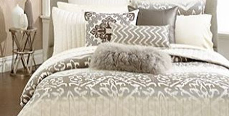 Coffee and white ikat bedding