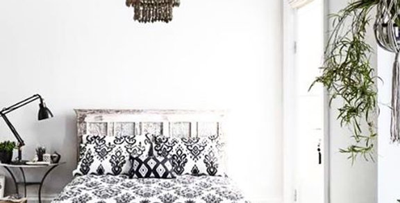 Black and white ikat bedding