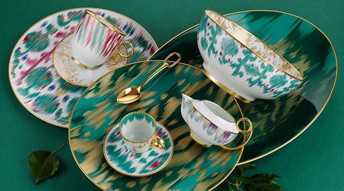 Voyage en Ikat Presentation, Hermes, porcelaine, Ikat