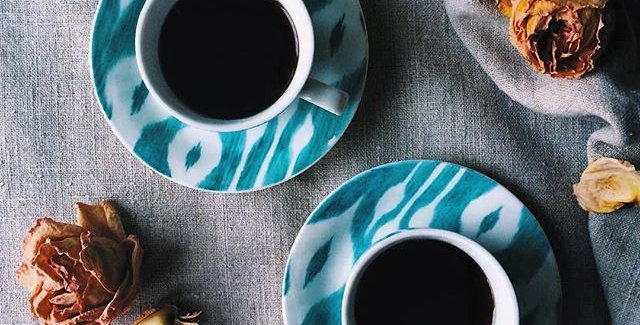 Ikat style hand painted tea/coffee parcelain set