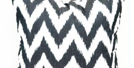 Ikat style black and white pillow