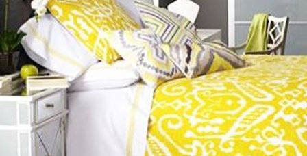 Yellow and white ikat bedding