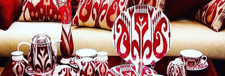 Ikat style hand painted tea parcelain set
