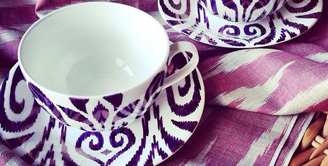 Ikat style hand painted parcelain