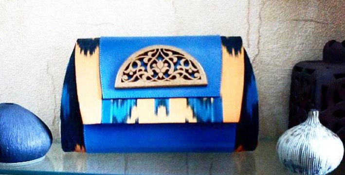 Elegant blue adras ikat hand bag