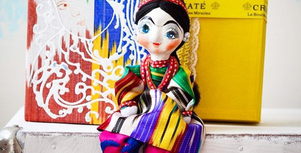 Hand-made adras note book and uzbek doll